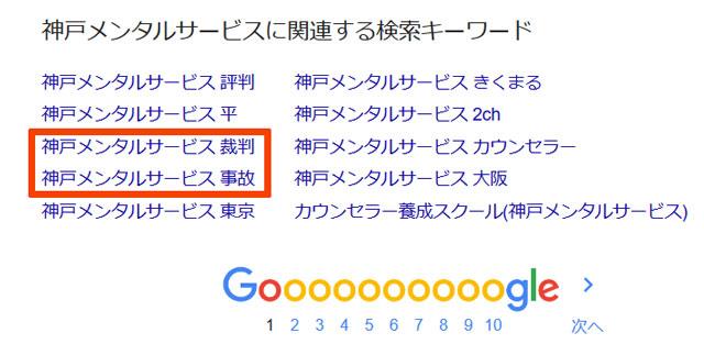 神戸メンタルサービスの検索関連ワードキャプチャ